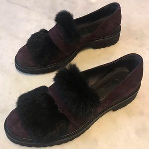 Luca Grossi Shoes - Luca Grossi Purple Suede Loafer W Black Rabbit Fur